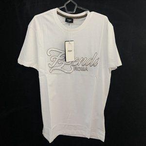 """Fendi Men Chest Embroidery White T-Shirt """"48"""""""